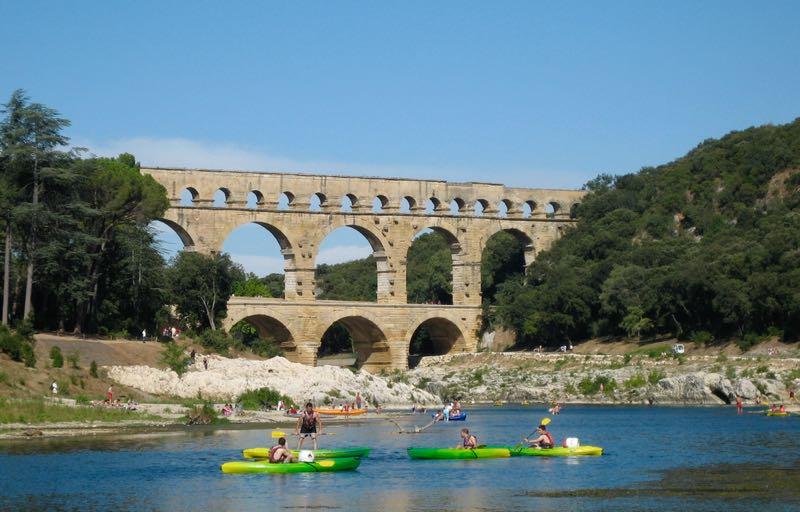Kayaking on the River Gardon by the Pont du Gard