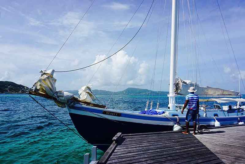 Petit St. Vincent's sailboat, Beauty, used for day excursions to the Tobago Cays and sunset cruises