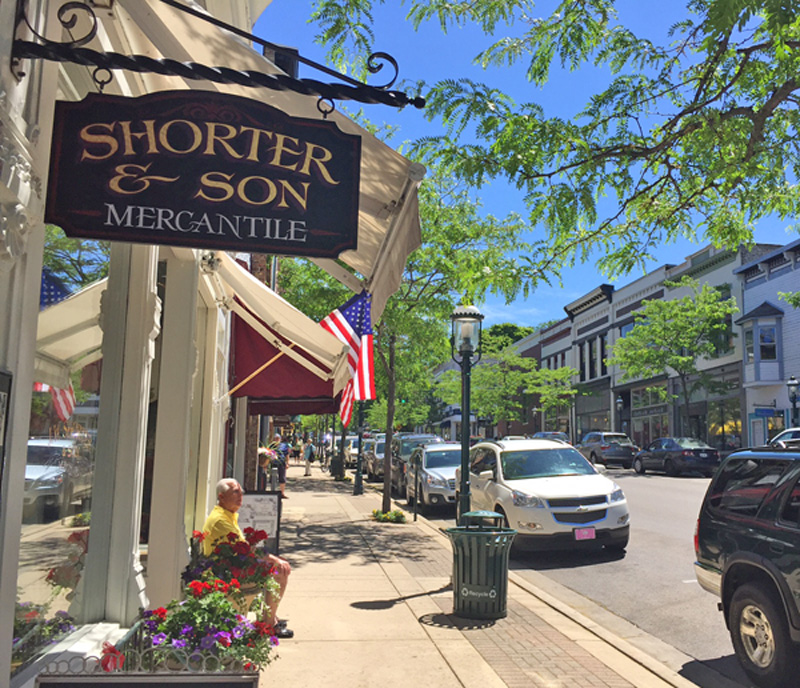 Petoskey's cute main street shopping area.