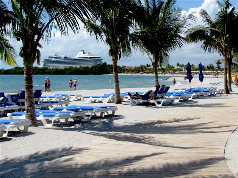 Lazing at Harvest Cay, a private beach