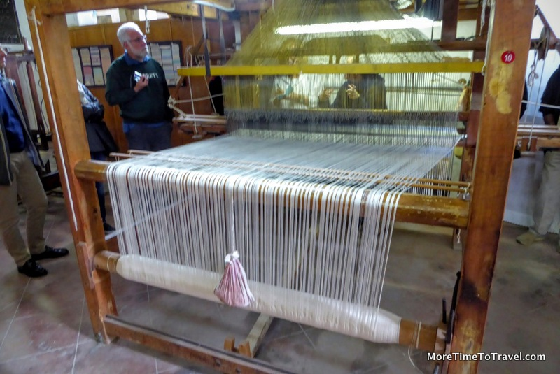 One of the old wooden looms at the workshop in Perugia