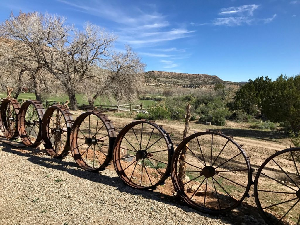 Wagon wheel fence adds charm to Canyon of the Ancients Guest Ranch