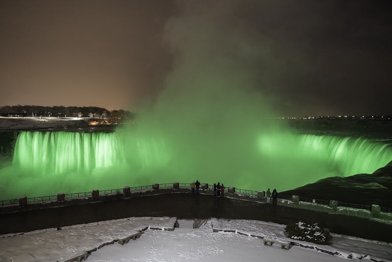 Illumination of Horseshoe Falls makes a memorable sight at night (Credit: Niagara Parks)