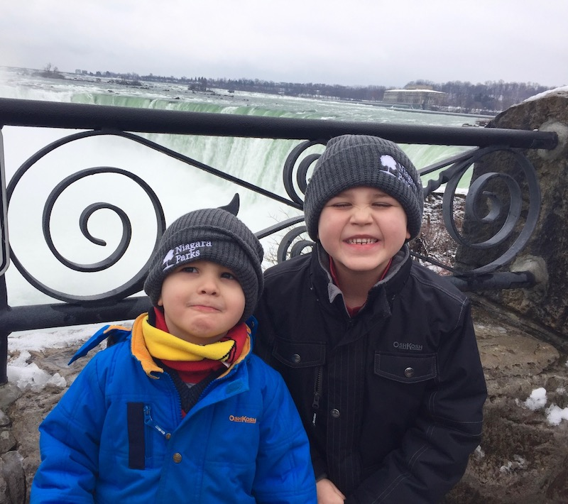 Author's two grandsons having a blast at Horseshoe Falls (Credit: Michele Peterson)