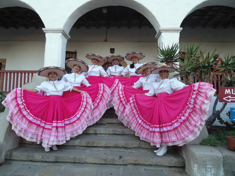 Girls in costume at the Santa Barbara Mission (Credit: Bonnie Carroll)