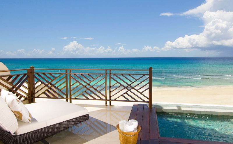 Aquamarine waters of the Caribbean just beyond your private plunge pool