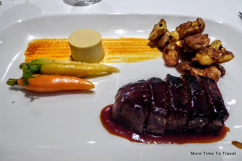 28-Day Dry Aged New York steak with Dijon mustard custard, crispy potatoes and Bordelaise sauce