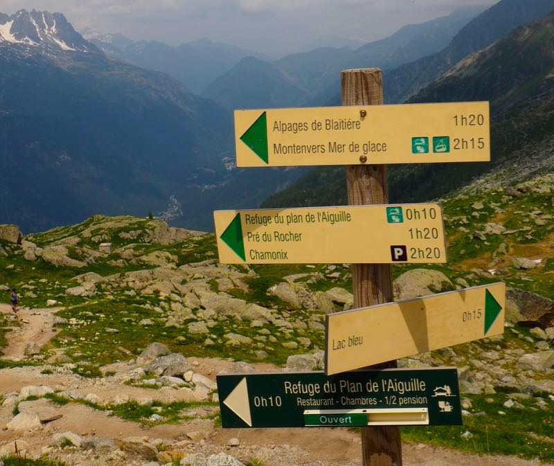 Signposts in the French Alps