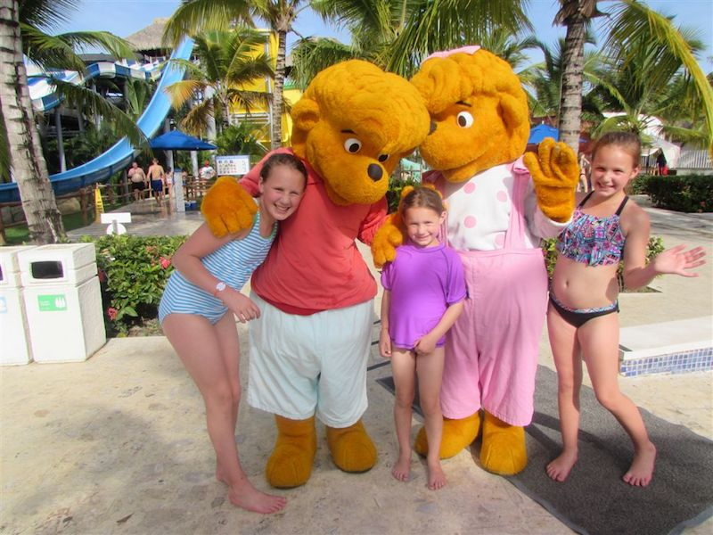 Authors' granddaughters with The Berenstain Bears, the Memories mascots