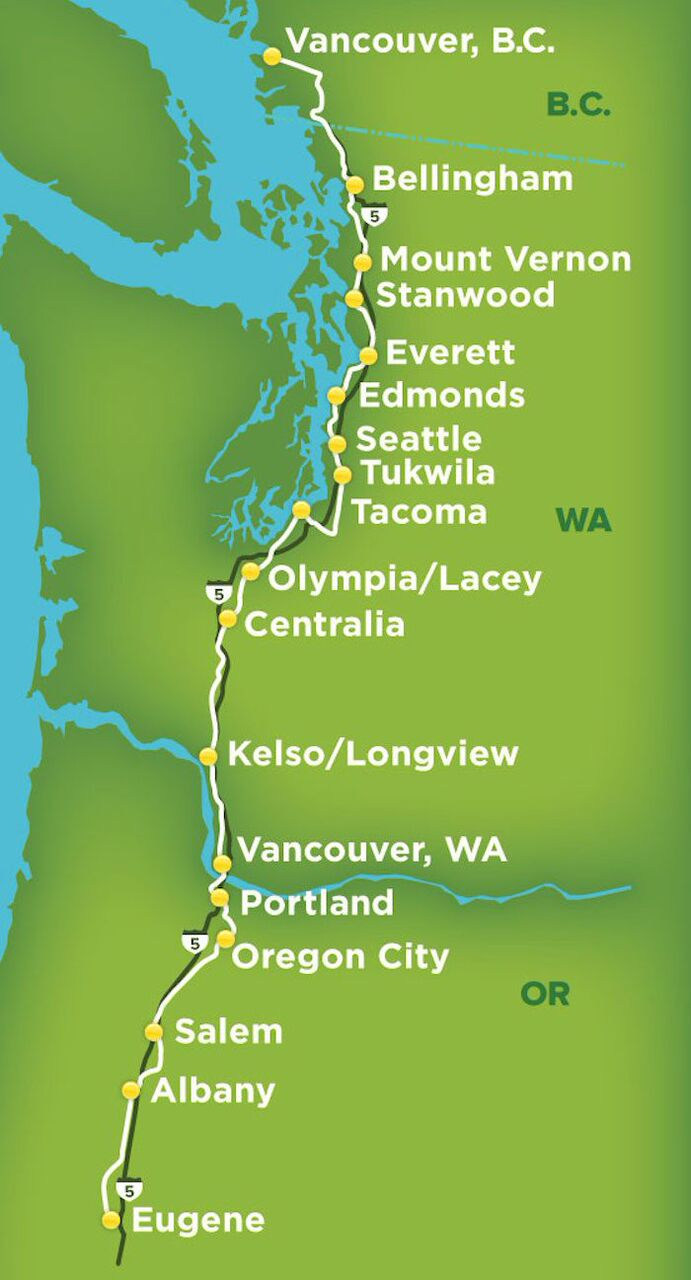 Amtrak Cascades in Business Cl: Great Views! | Getting On ... on map downtown portland oregon, map bike route signs, map of portland and seattle,