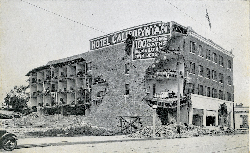 Hotel Californian after the 1925 earthquake (Credit: Santa Barbara Library)
