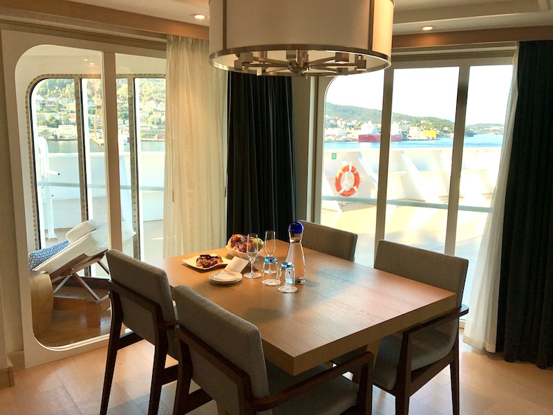 Light-filled dining area in our stateroom