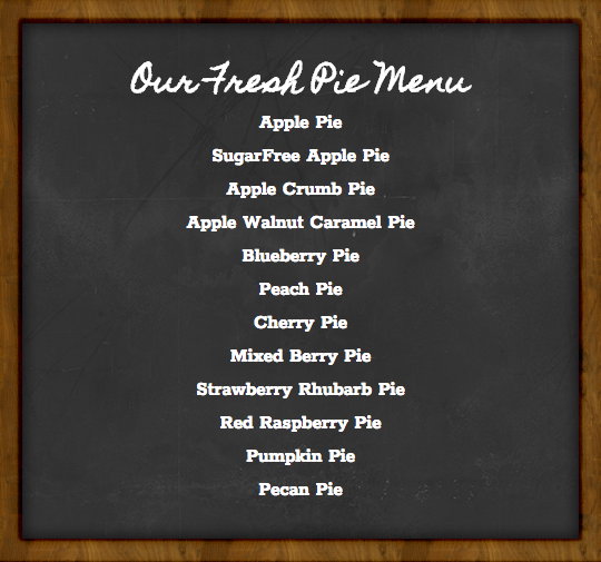 Pie menu at Salinger's Orchard