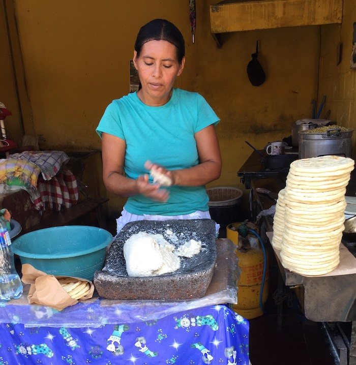 Freshly made tortillas for sale in El Salvador