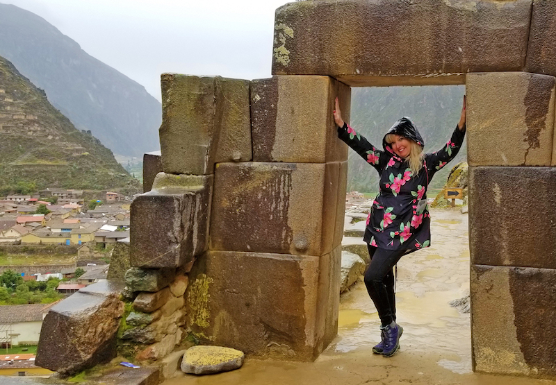 Victory! Passing through stone gate near top of the Ollantaytambo Inca fortress