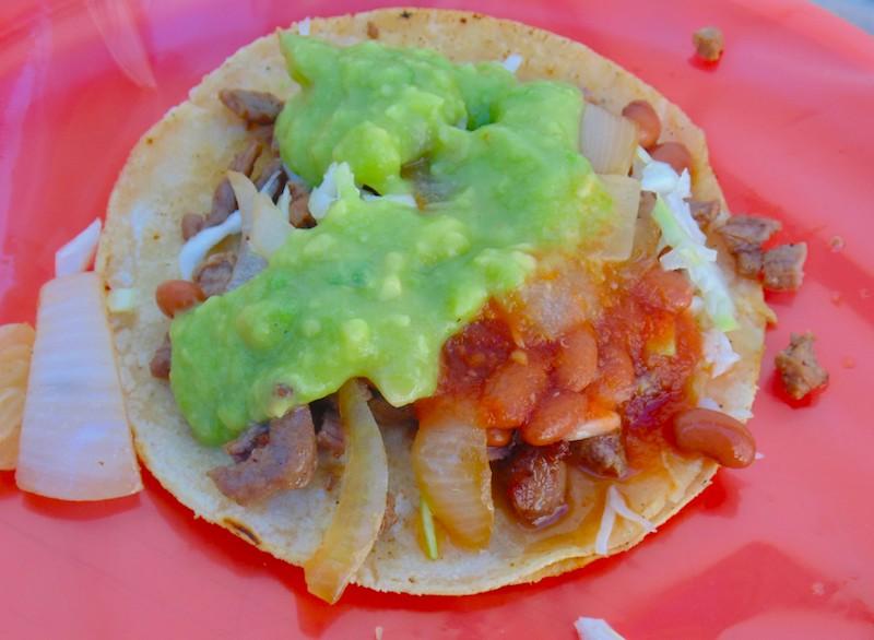 Tacos El Cunado, Tacos with guacamole, onion and beans
