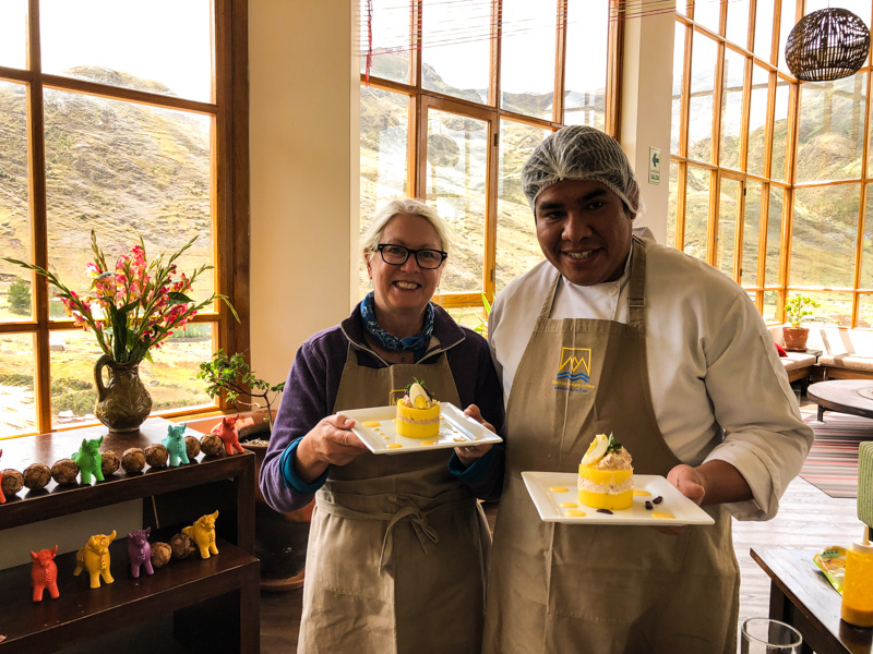 Author with the chef at Hucahuasi Lodge