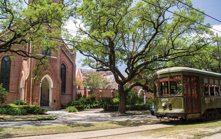Rayne Memorial Methodist church streetcar