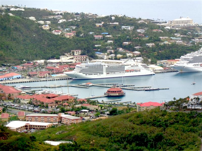 Silver Muse Caribbean Cruise docked in St. Thomas