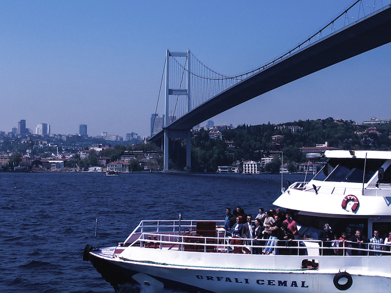 Going under the First Bosphorus Bridge
