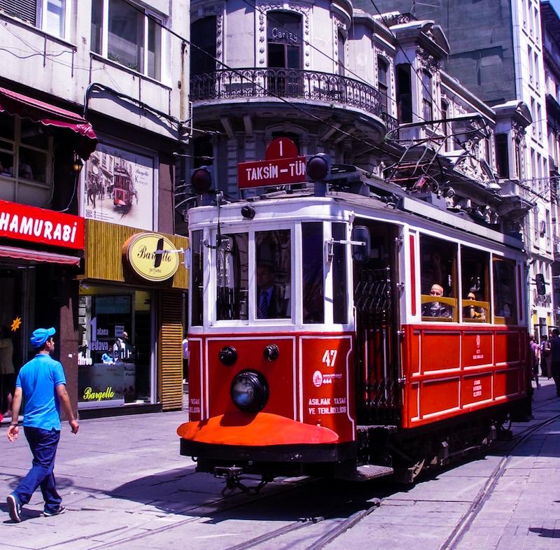 Historic tram along Istiklal Caddesi
