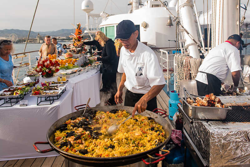 Onboard barbeque off the Spanish coast (Credit: Tom Fakler)