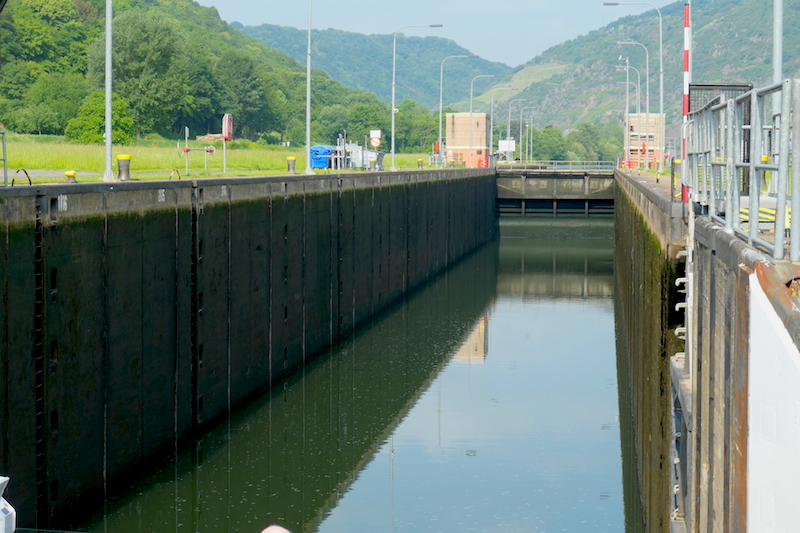 Entering one of the locks on the Moselle River (Credit: Jerome Levine)