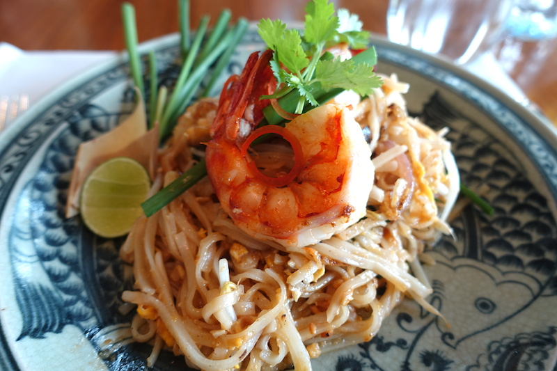 Phad Thai Goong lunch entree at Peninsula Bangkok