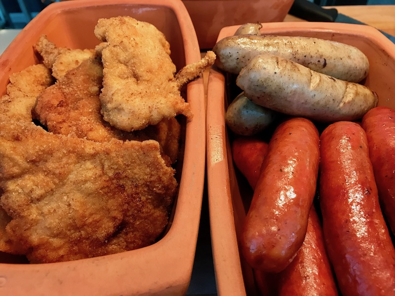 Some of the delectable local specialties served on German night on the Hild (Credit: Jerome Levine)