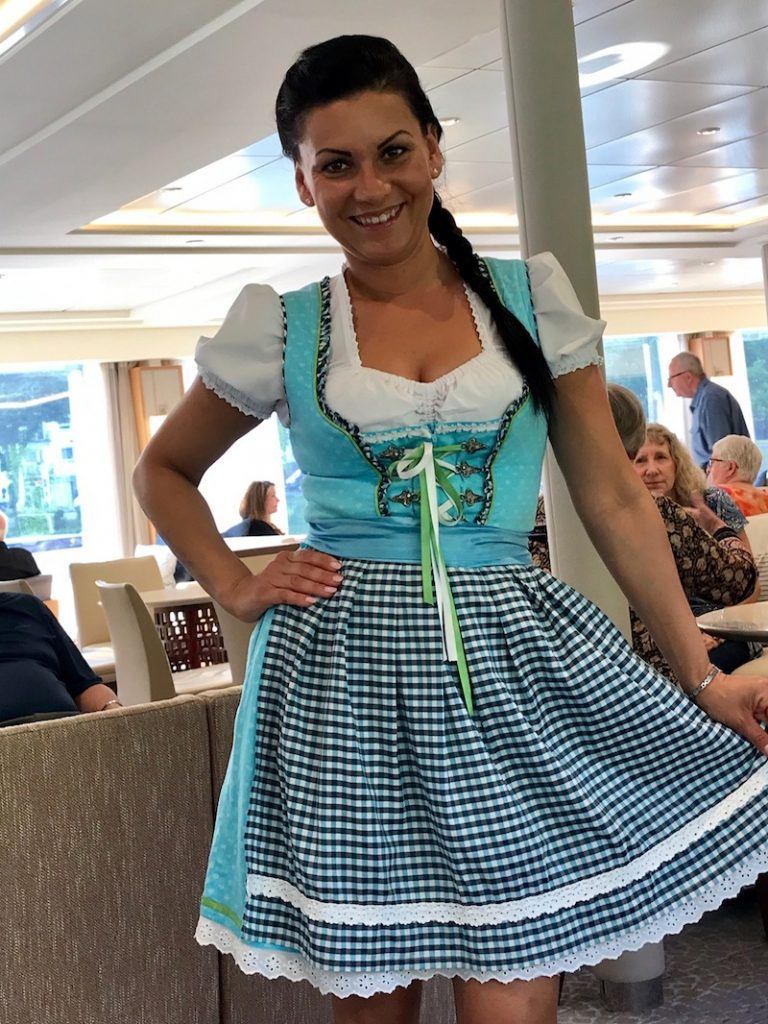On German night on the Hild, crew join guests in the festivities.