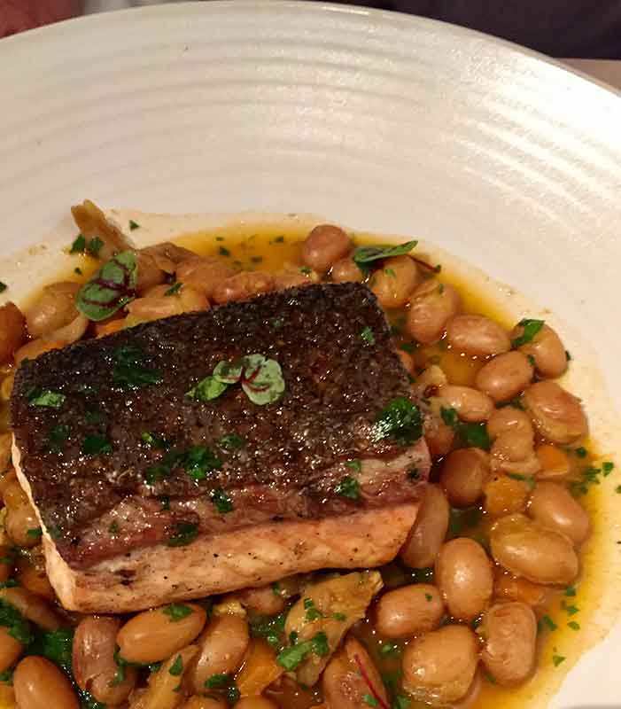 Oak-Grilled Atlantic Salmon with borlotti beans, FarmTable Cucina, St. Pete, FL.