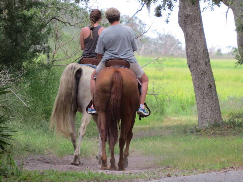 Horseback riders enjoy the miles of undisturbed nature