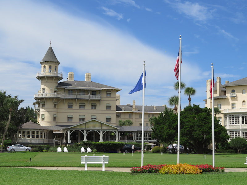 Historic Jekyll Island Resort (hotel with tower) sits in the heart of the Historic District