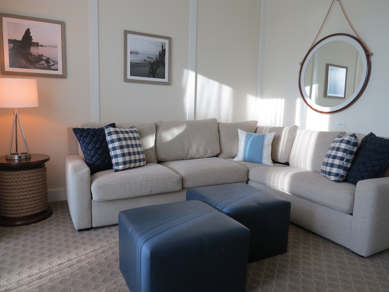 The living room of the suite works well for families traveling with children