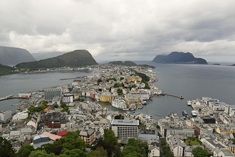 Ålesund from Fjellstua on our road trip in southern Norway