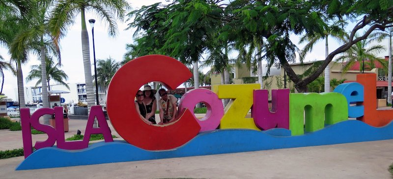 The author and two friends, making memories in Cozumel