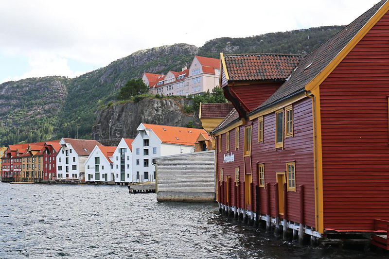 Bergen waterfront on our road trip in southern Norway