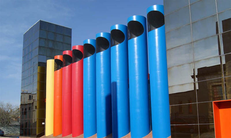 AT&T Switching Station's Crayola-crayon colored stacks by Paul Kennon