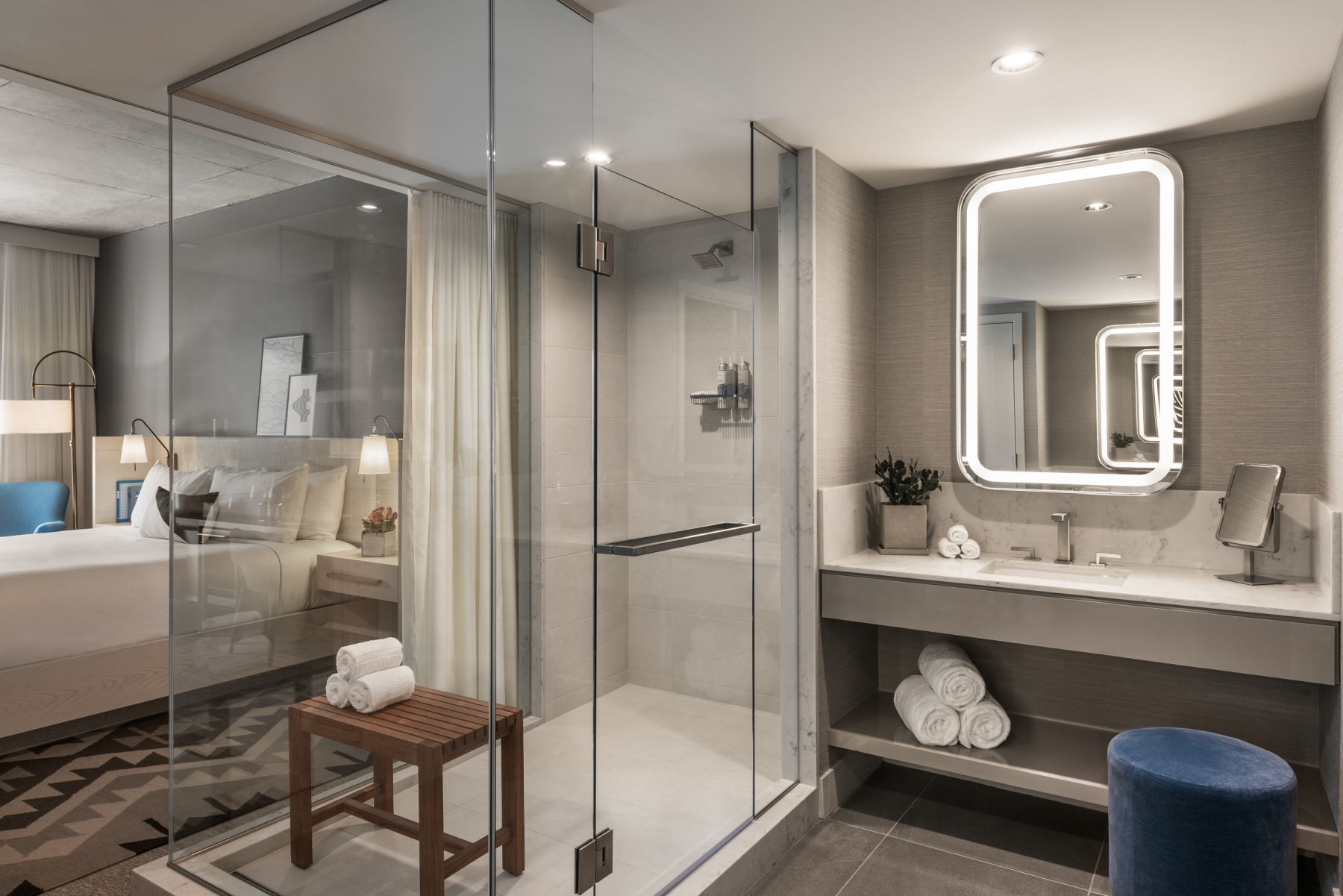 Glass-walled shower at Mountain Shadow.