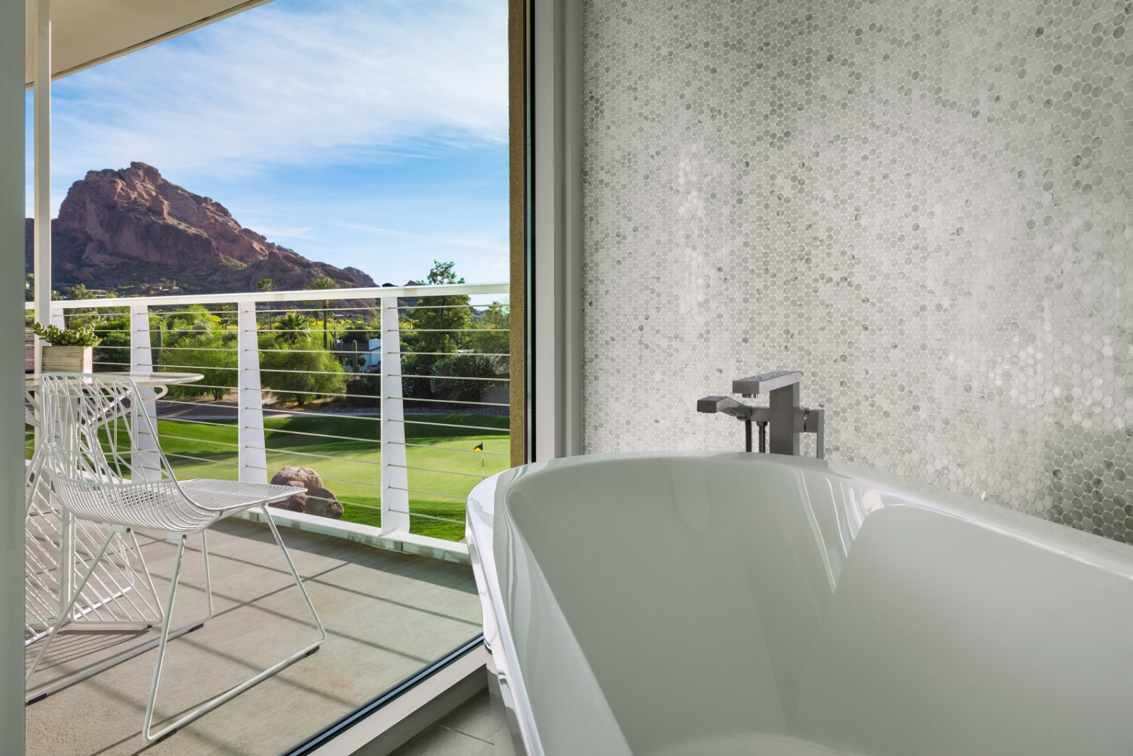 The oversized soaking tub was angled to take advantage of the view.