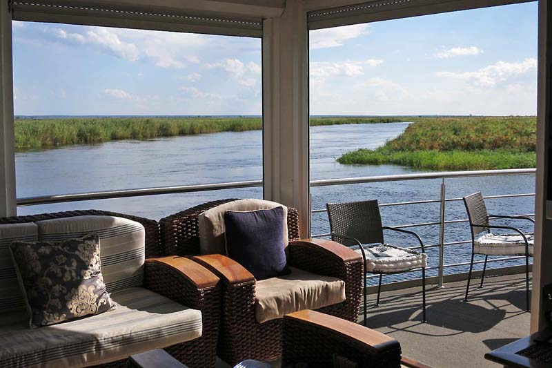 A comfortable relaxation area - Luxury Safari Cruise on the Chobe River
