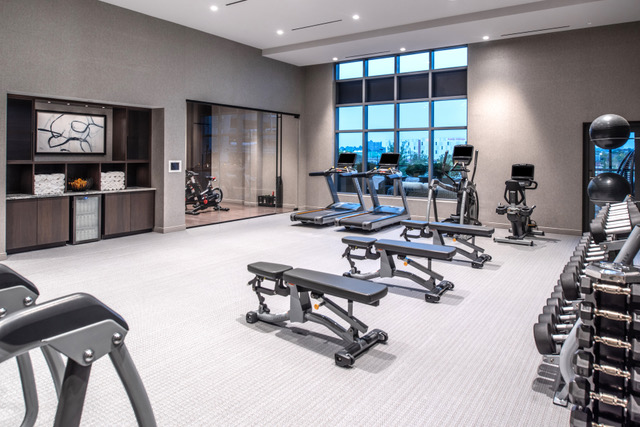 Fitness room in wellness center at the Row hotel at assembly row Boston