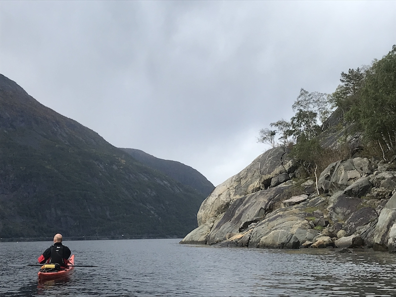 Kayaking in a fjord on a Scandinavian Viking Cruise
