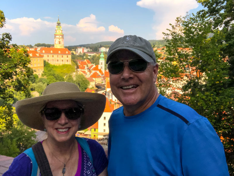 The author and her husband celebrate their anniversary in Cesky Krumlov