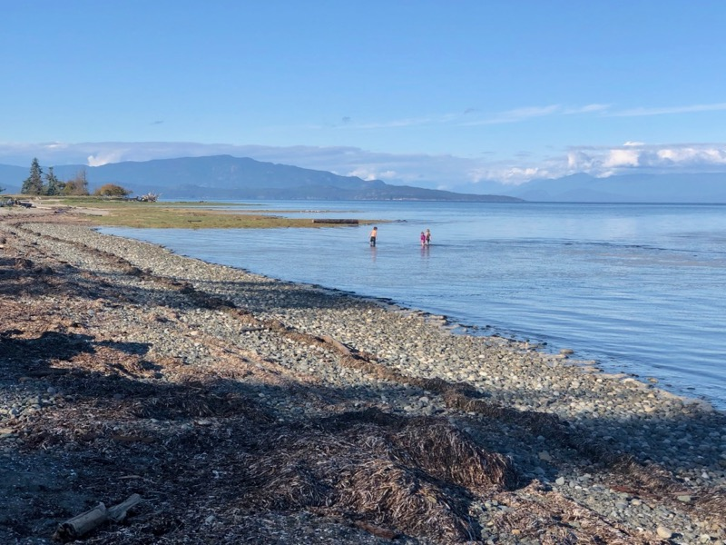 Kids play in the sea at Rathtrevor Beach, Parksville, BC