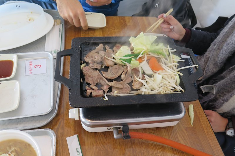 Mongolian hotpot is the specialty of igloo dining at the Iwate Snow Festival