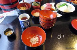 Author's Wanko Soba meal at Iwate Prefecture