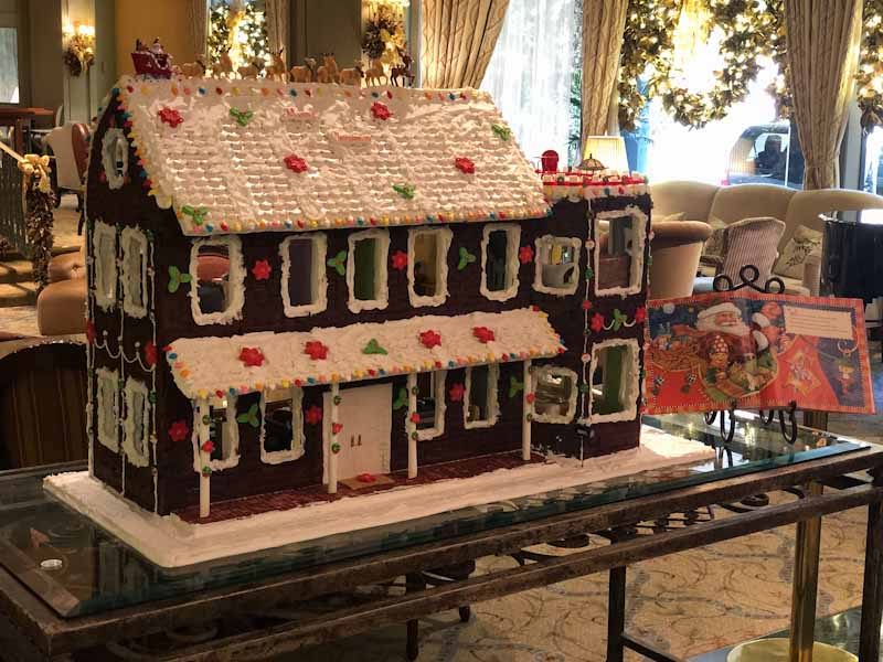 "Gingerbread house depicting the home in ""T'was the Night Before Christmas."" (Photo credit: Windsor Court Hotel)"