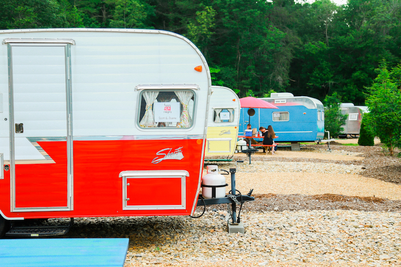 Lineup of colorful trailers at JuneBug Retro Resort (Credit: Joseph Dix Photography)