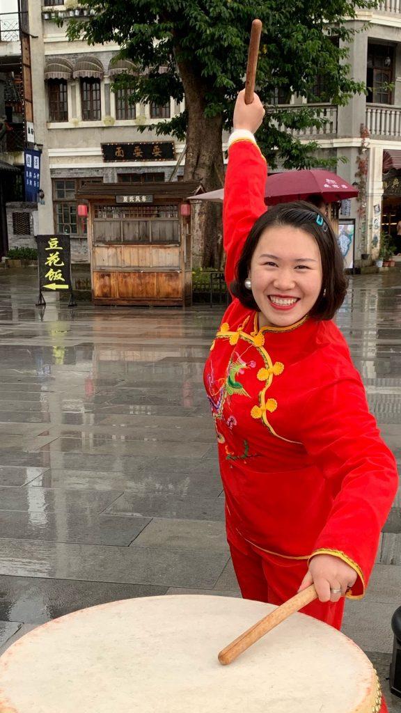A performer at Chongqing Liangjiang International Movie City